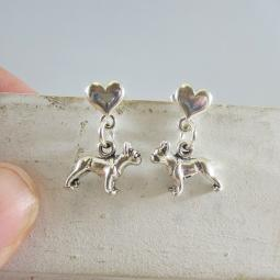 French Bulldog Mini Heart Sterling Silver Earrings