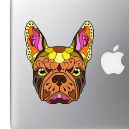French Bulldog Sugar Skull Brown Colorful Full Color Decal