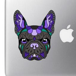 French Bulldog Sugar Skull Black and Purple Full Color Decal