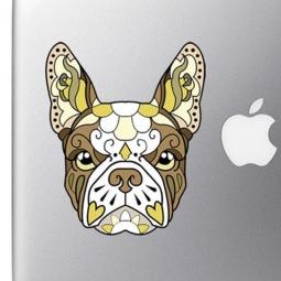 French Bulldog Sugar Skull Brown and White Full Color Decal