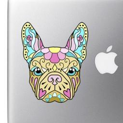 French Bulldog Sugar Skull Yellow Colorful Full Color Decal