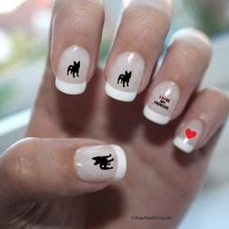 French Bulldog Love Nail Art