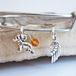German Shepherd Mini Angel Wing Stackable Bangle Bracelet