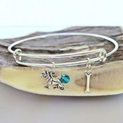 German Shepherd Mini Bone Stackable Bangle Bracelet