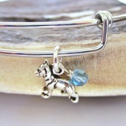 "German Shepherd Mini Dangle Stackable Bangle Bracelet (2.5""-3"")"