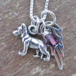 German Shepherd Mini Angel Wing Sterling Silver Necklace