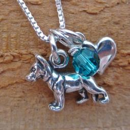 German Shepherd Mini Heart Sterling Silver Necklace