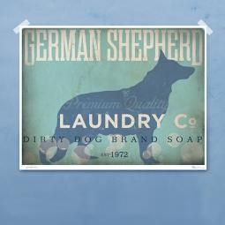 German Shepherd Laundry Co. Silhouette 8x10, 11x14 Giclee Print
