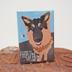 German Shepherd Lunch Art Magnet