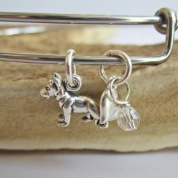 "German Shepherd Mini Heart Stackable Bangle Bracelet (2.5""-3"")"