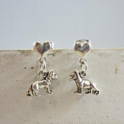 German Shepherd Mini Heart Sterling Silver Earrings
