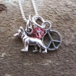German Shepherd Mini Peace Sterling Silver Necklace