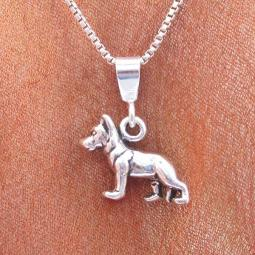 German Shepherd Mini Pendant Charm and Necklace