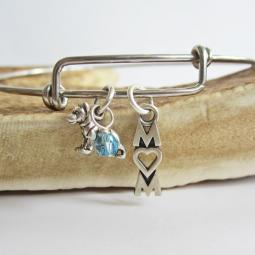 "German Shepherd Mom Stackable Bangle Bracelet (2.5""-3"")"