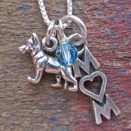 German Shepherd Mom Mini Sterling Silver Necklace