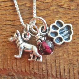 German Shepherd Mini Paw Print Sterling Silver Necklace