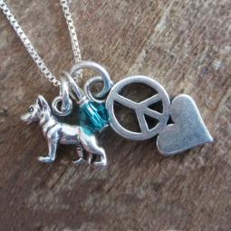 German Shepherd Mini Peace Love Sterling Silver Necklace