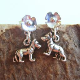 German Shepherd Poppy Sterling Silver Earrings