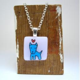 Blue Pibble Glass Necklace