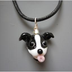 Black & White Pit Bull Glass Pendant Necklace