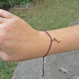 Gold-Plated Dog Bone Thread Bracelet