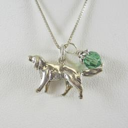 Golden Retriever Large Charm Sterling Silver Necklace