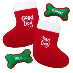 Christmas Good Dog Bad Dog Stocking and Bone Combo