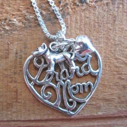 Pit Bull Grand Mom Sterling Silver Necklace