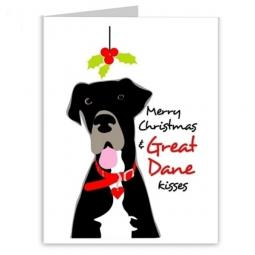 Great Dane Kisses Christmas Greetings Note Cards (#2)