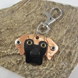 Great Dane Natural Ears Brindle with Black Mask Metal Keychain