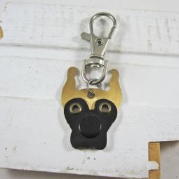 Great Dane Cropped Ears Fawn with Black Mask Metal Keychain