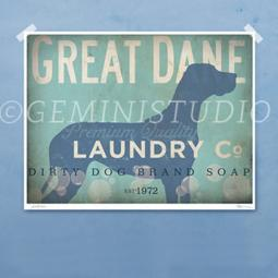 Great Dane Laundry Company Silhouette 8x10, 11x14 Giclee Print