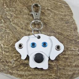 Great Dane Natural Ears White Metal Rivet Tag/Keychain