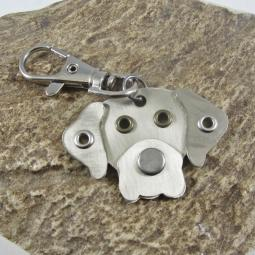 Great Dane Natural Ears Silver Metal Rivet Tag/Keychain