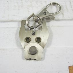 Great Dane Cropped Ears Silver Metal Rivet Tag/Keychain