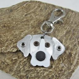 Great Dane Natural Ears Silver & White Metal Rivet Tag/Keychain