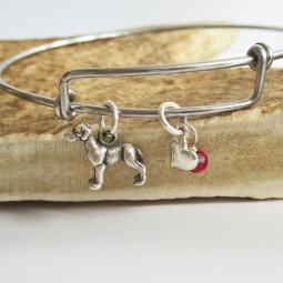 "Great Dane Mini Heart Stackable Bangle Bracelet (2.5""-3"")"