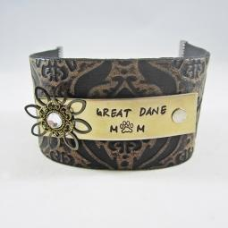 Great Dane Mom Handstamped Leather Cuff