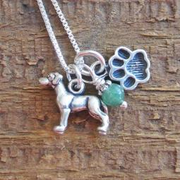 Great Dane Mini Paw Print Sterling Silver Necklace