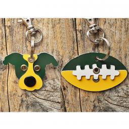 Green and Yellow Pit Bull or Football Metal Rivet Keychains