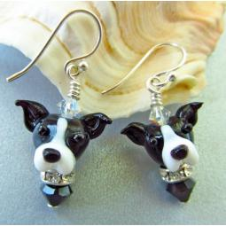 Greyhound Black and White Glass Earrings