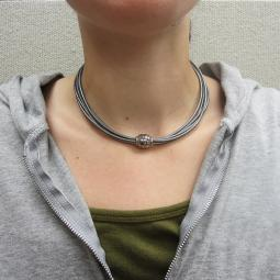Gray Italian Leather 5-Strand Wrap Choker Necklace MagneticClasp