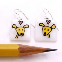 Happy Dog Glass Earrings - LAST PAIR