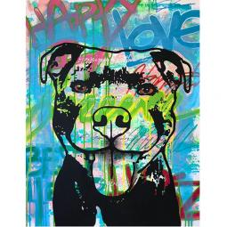 Happy Love Pit Bull Indelible Dog Dean Russo Print