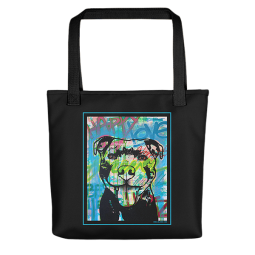 Happy Love Pit Bull Indelible Dog Tote Bag