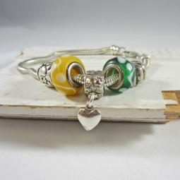 One-of-a-Kind Heart Paw Print, Green, Yellow Bead Bracelet
