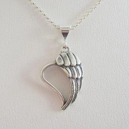 Angel Wing Heart Sterling Silver Pendant Charm and Necklace