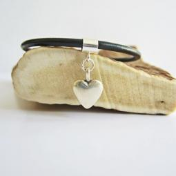 Medium Heart Sterling Silver European-Style Charm and Bracelet