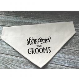Here Comes the Grooms Canvas Dog Bandana
