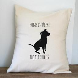 Home is Where the Pit Bull is Canvas Pillow Cover